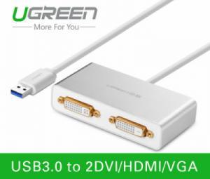 Cáp USB 3.0 to 2 DVI Ugreen 40246 chính hãng