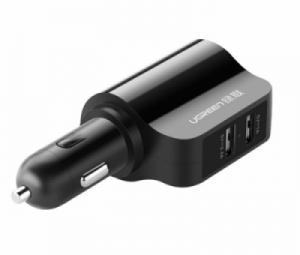 Sạc điện thoại trên ô tô 2 cổng USB 1A và 2.4A Ugreen 20394