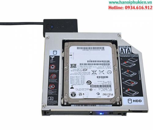 Khay gắn SSD-HDD cho Laptop Caddy Bay loại mỏng 9.5mm