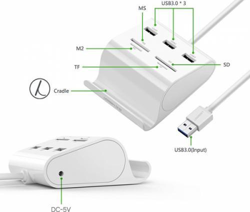 Bộ chia USB 3.0 3 cổng Ugreen 30342 tích hợp đầu đọc thẻ nhớ SD TF
