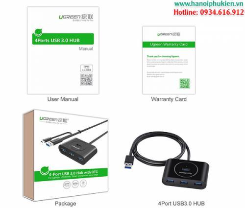Bộ chia USB 3.0 4 cổng Ugreen 20292 có OTG hỗ trợ nguồn ngoài