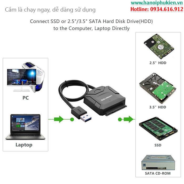 Cáp USB 3.0 sang SATA converter Ugreen 20231 chính hãng